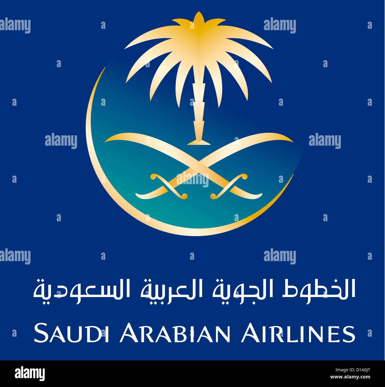 Il logo della compagnia aerea del Regno dell'Arabia Saudita SAA - Saudi Arabien compagnie aeree con sede a Jeddah. Immagini Stock