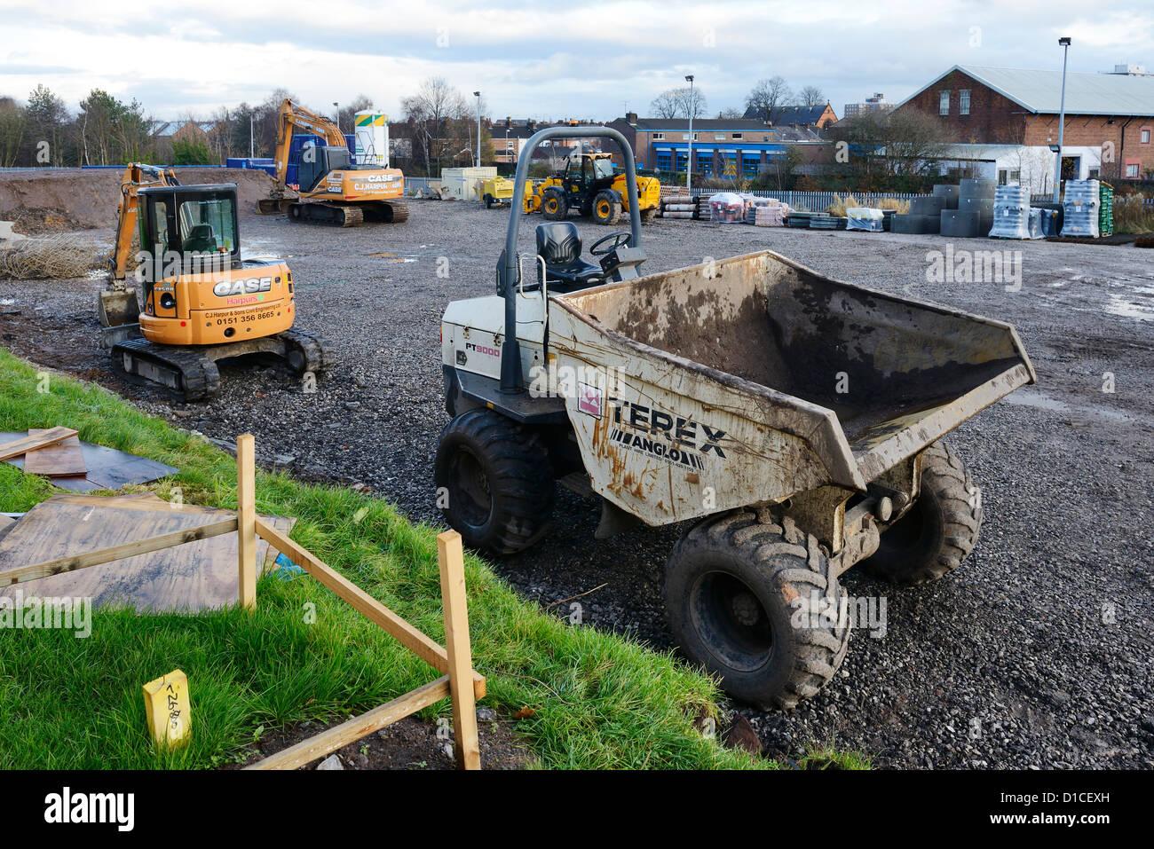 Macchine e impianti su un sito di costruzione Immagini Stock