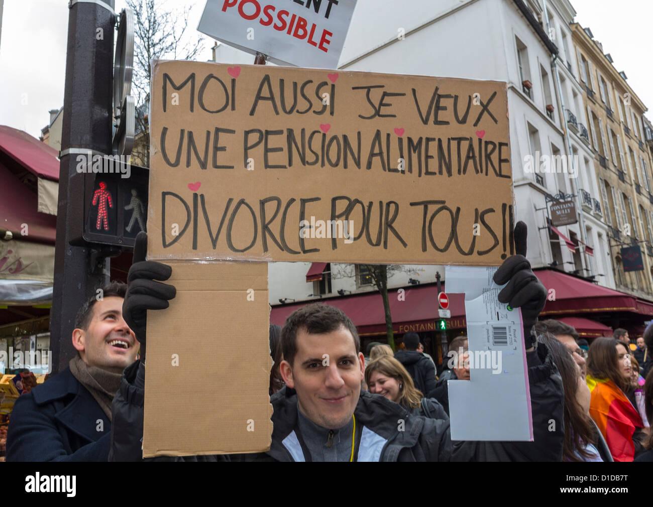 Parigi, Francia, Francese azienda Man mano fatta segno di protesta, 'Me voglio anche assegni alimentari, il Immagini Stock