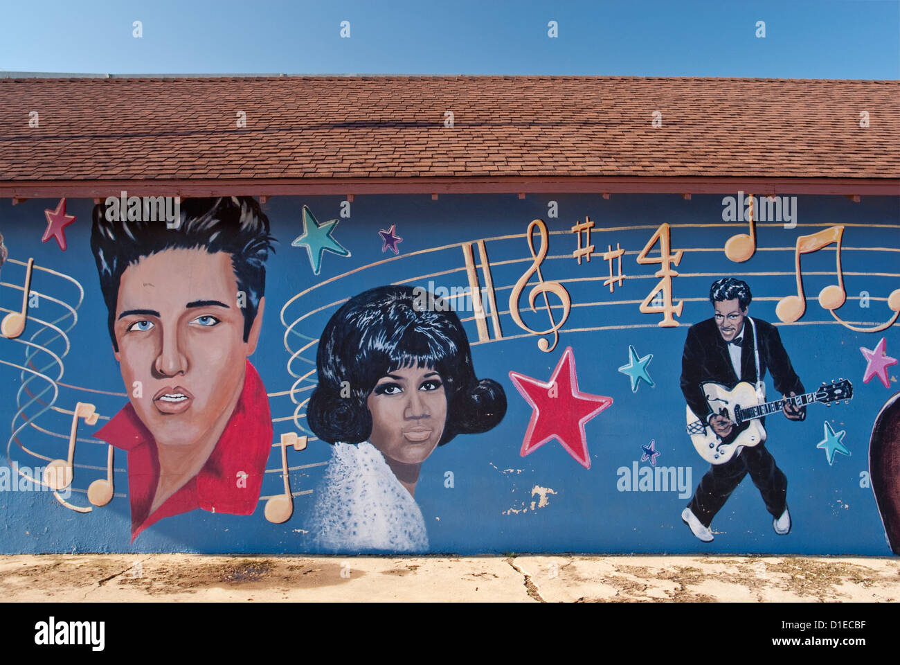Elvis Presley, Aretha Franklin e Chuck Berry, murale in Clovis in Great Plains area del Nuovo Messico, STATI UNITI D'AMERICA Foto Stock