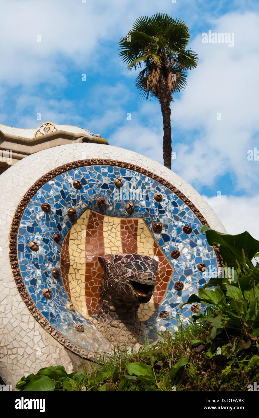 Parco Guell (Parc Guell), il Sito Patrimonio Mondiale dell'Unesco, Barcellona, Catalunya (Catalogna) (Cataluña), Foto Stock