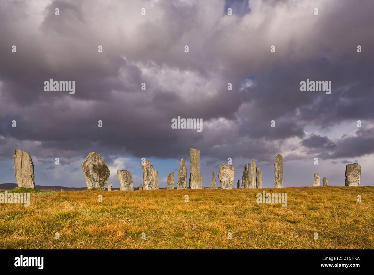 Showery meteo a Callanish Stone Circle, isola di Lewis, Ebridi Esterne, Scotland, Regno Unito, Europa Immagini Stock