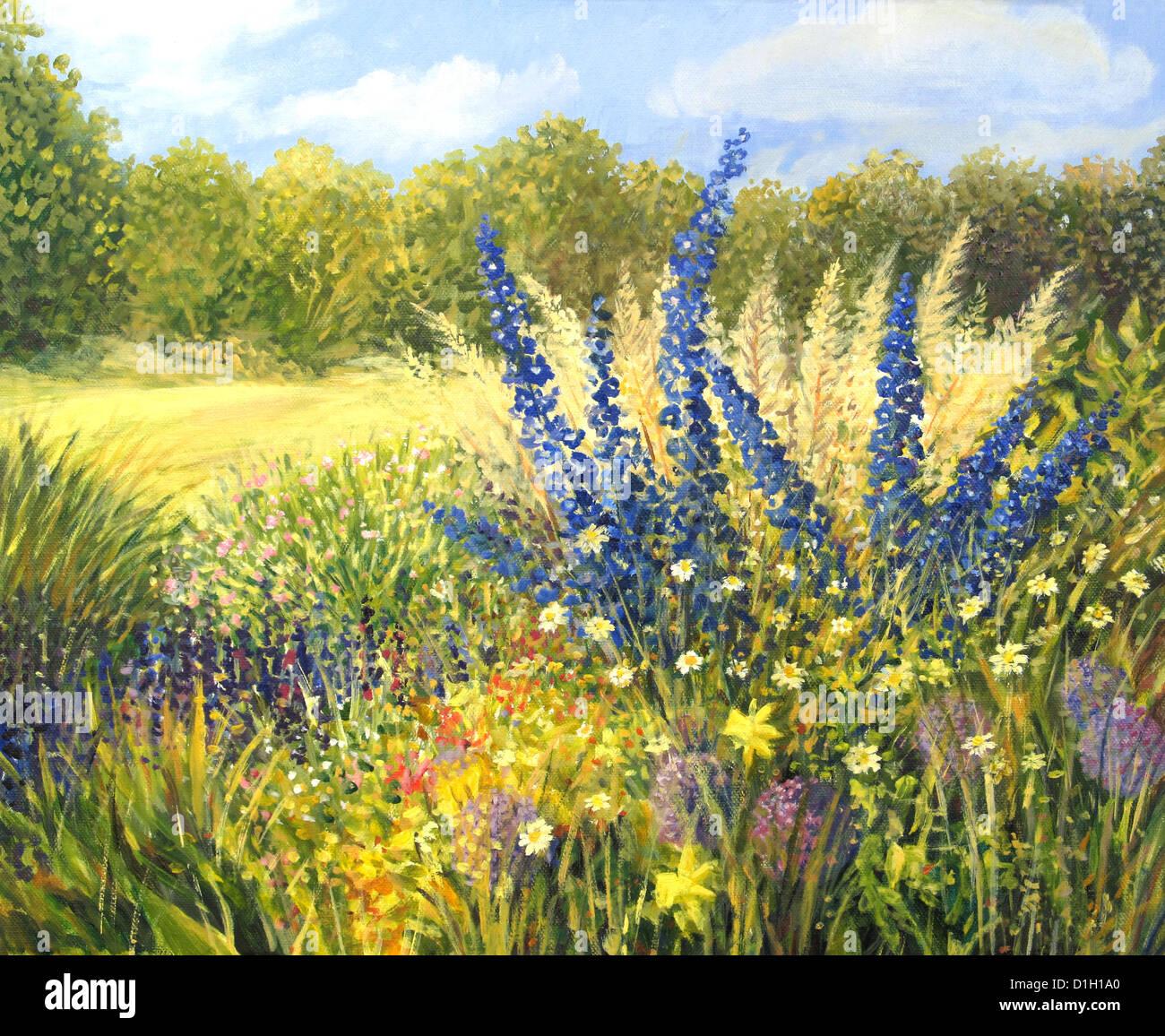 Un dipinto ad olio su tela di un vibrante primavera prato pieno di ...