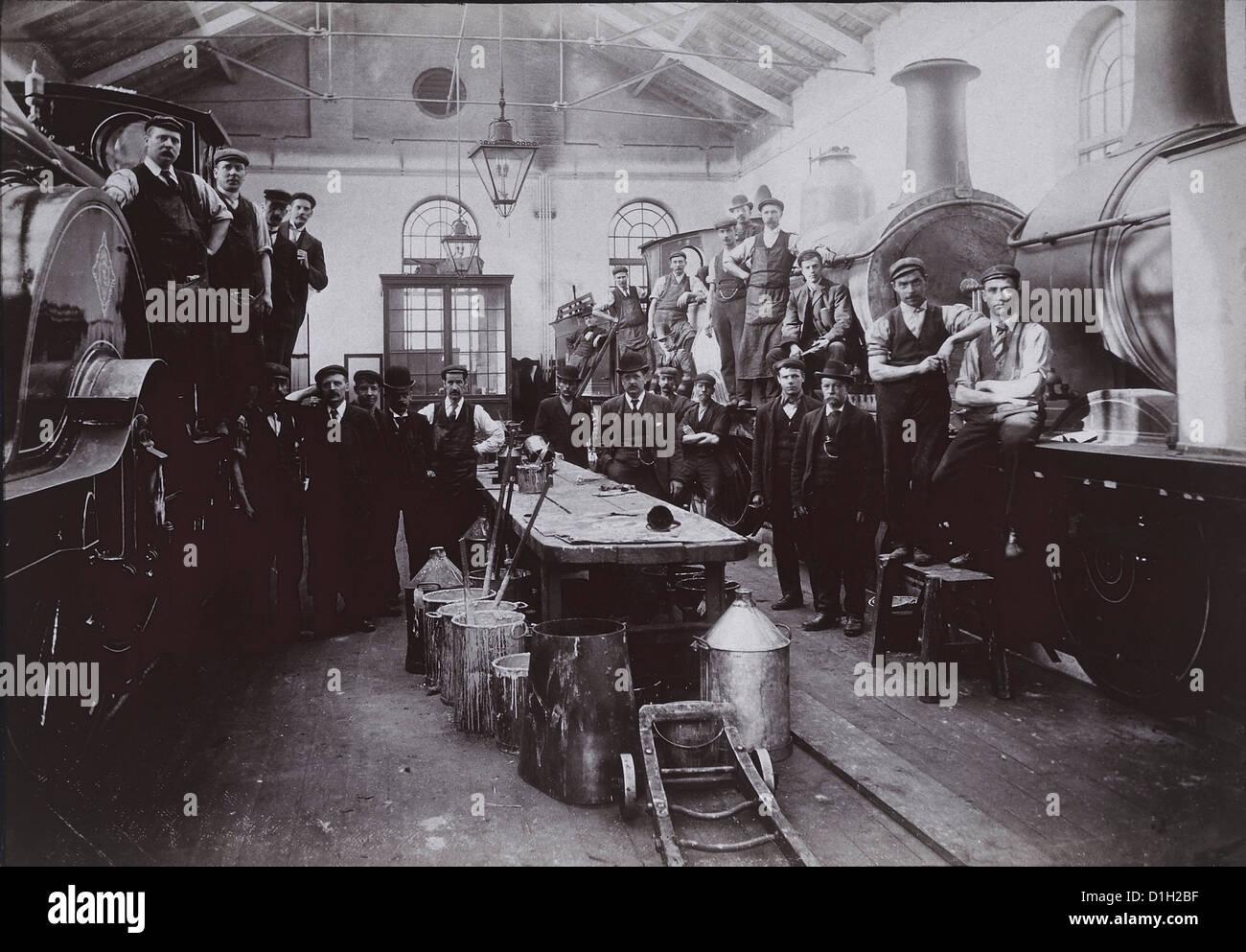 Locomotore ferroviario lavoratori, Ritratto, circa 1910 Immagini Stock