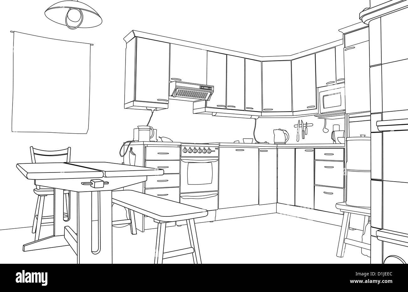 Illustrazione di una bozza di disegno di una cucina interno Foto ...
