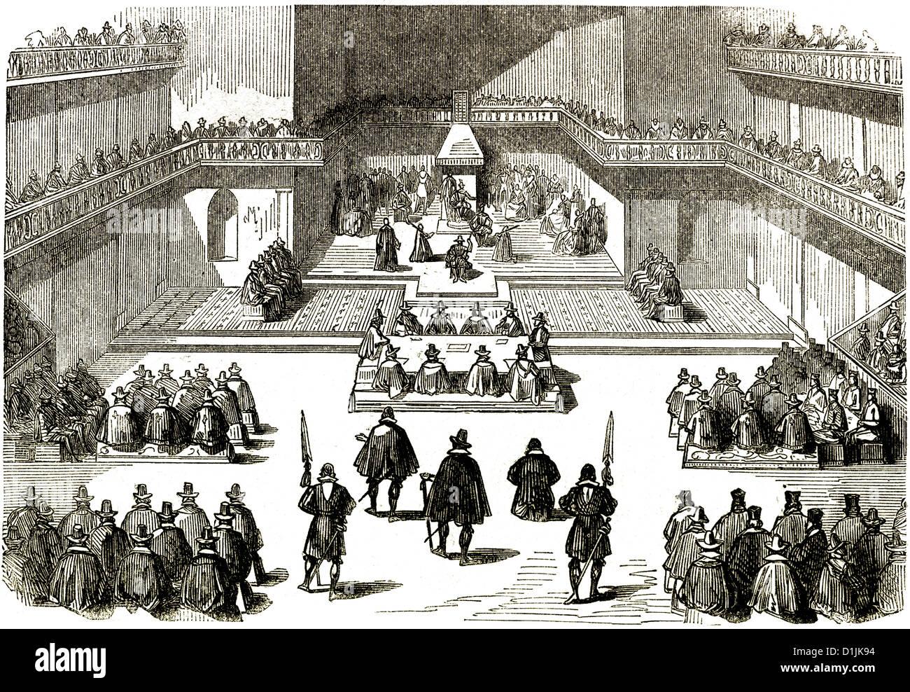 Estates generali o États généraux, 1614, una riunione di rappresentanti delle tre tenute il clero Immagini Stock