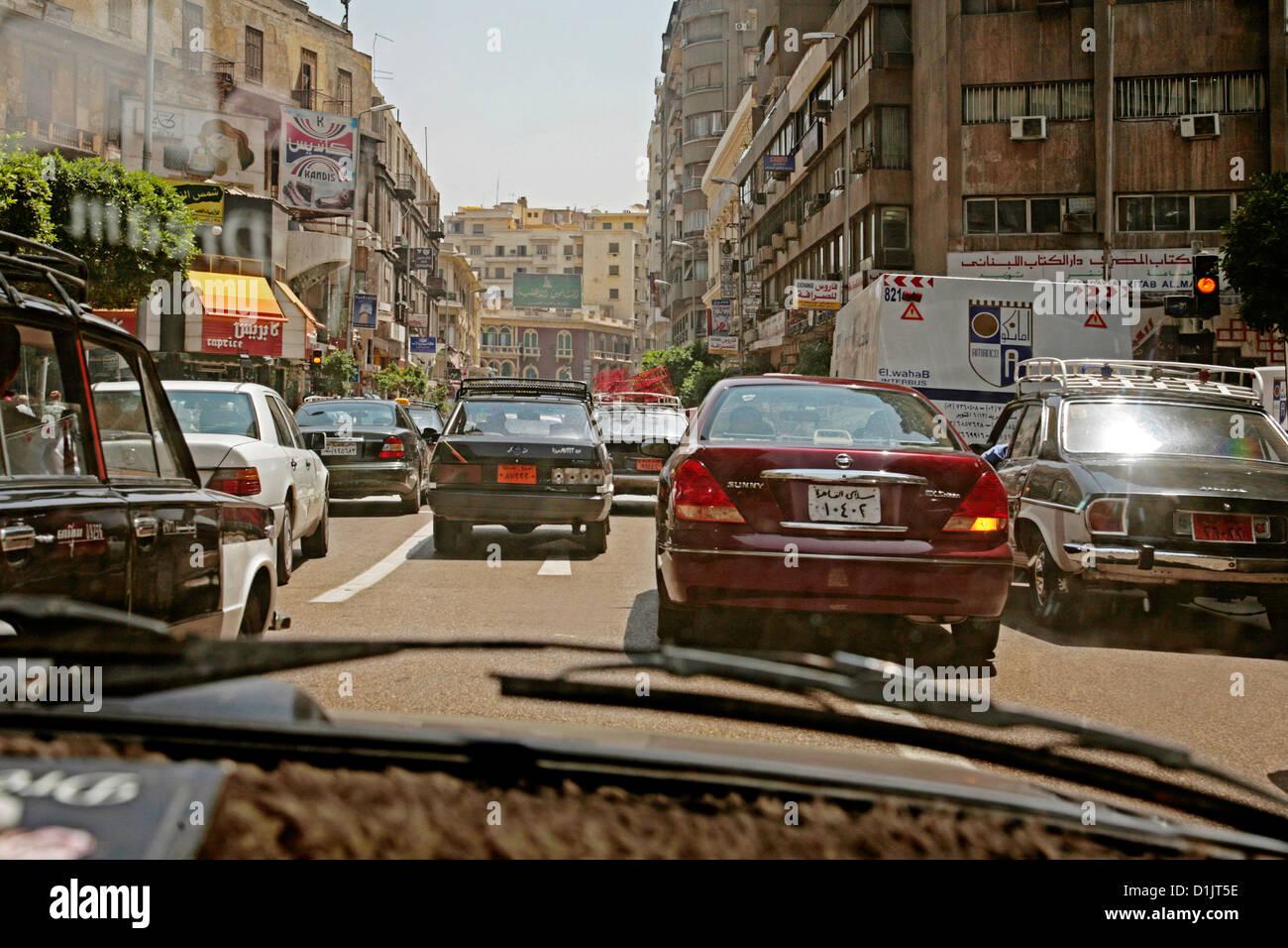 In Egitto il traffico del Cairo Immagini Stock