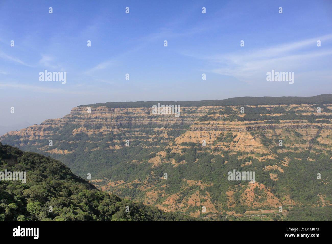 Vista delle colline Mahabaleshwar, Maharashtra, India Immagini Stock