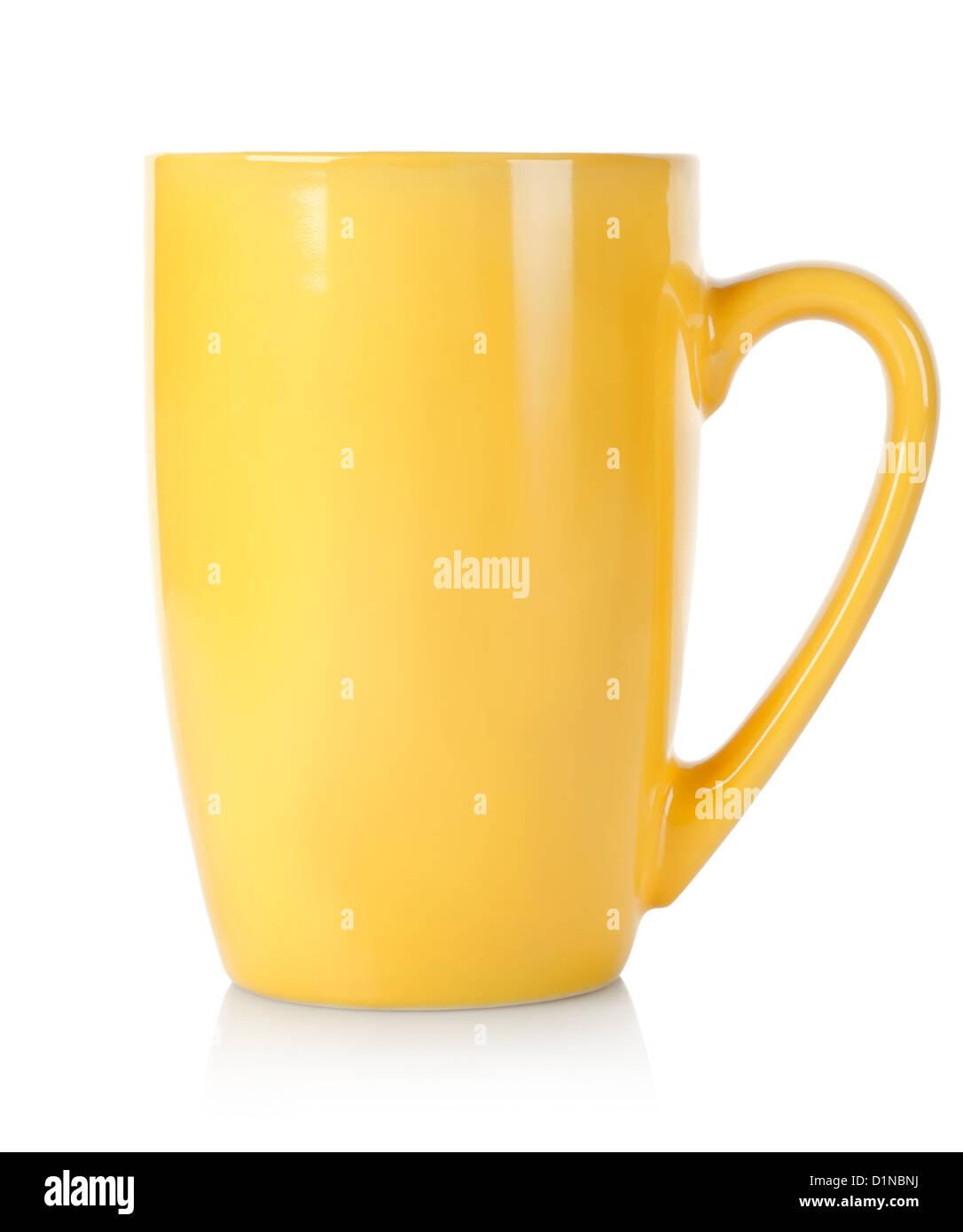 Giallo tazza isolata su uno sfondo bianco Immagini Stock