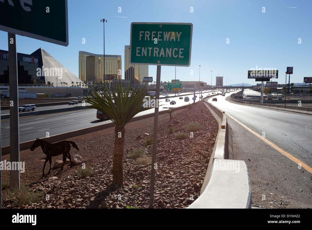 'Autostrada i-15 in strada di ingresso Las Vegas Nevada USA Immagini Stock