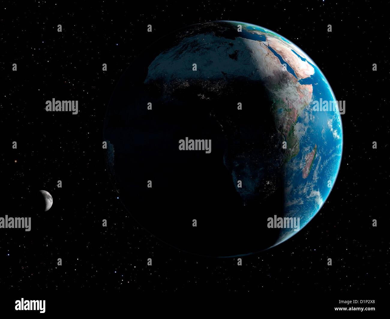 Illustrazione dell'Africa visto dallo spazio Immagini Stock