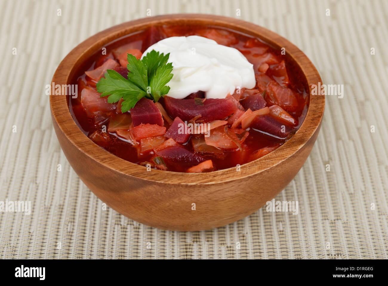 Borscht russo, zuppa di barbabietole, stufato di carne Immagini Stock