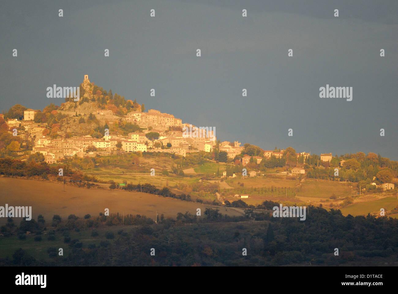 Val d'Orcia paesaggi, Pienza, Siena, Toscana, Italia Immagini Stock
