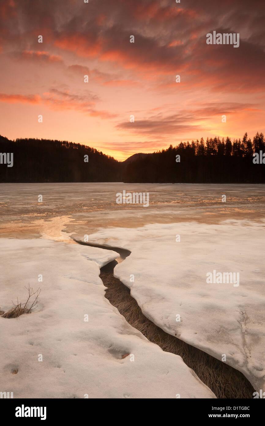 Cieli colorati all'alba, a Eikhom in Nissedal, Telemark fylke, Norvegia. Immagini Stock