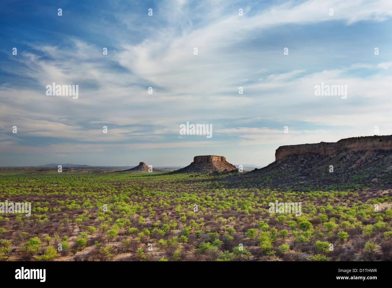 Vista delle terrazze Ugab dal dito di roccia in Damaraland in Namibia Immagini Stock