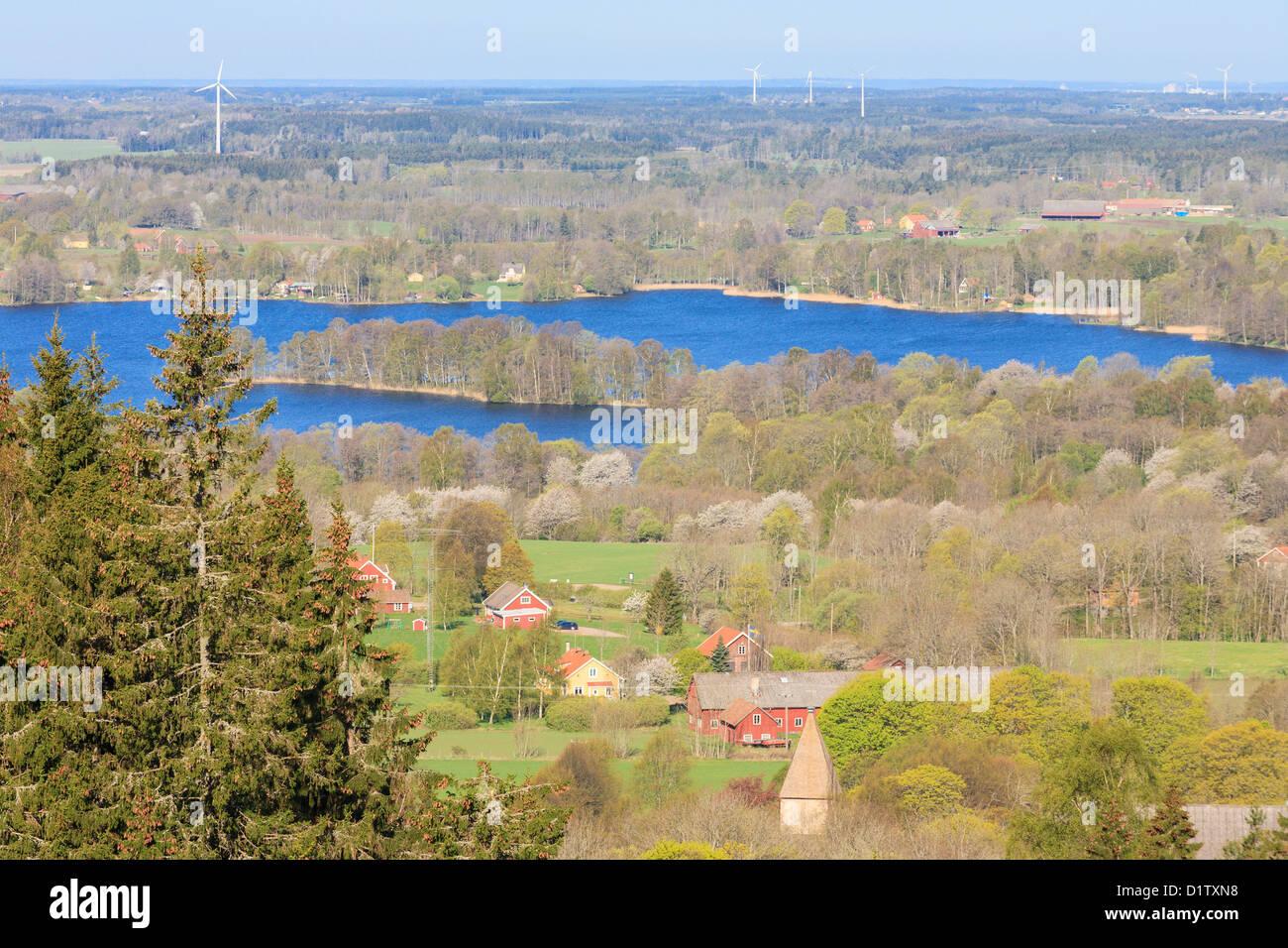 Vista della Valle del distretto di Vastergotland Svezia Foto Stock