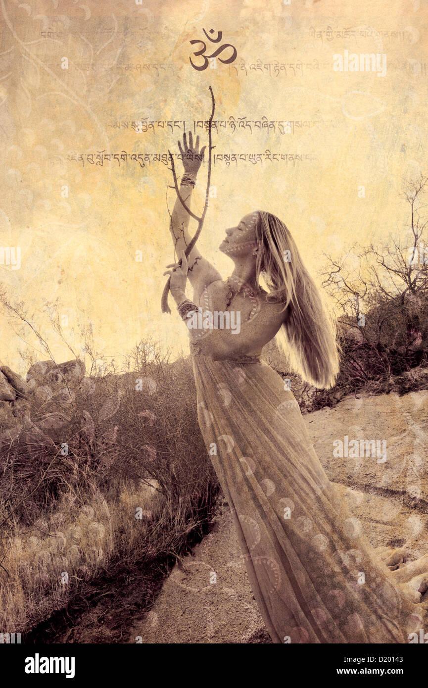 Donna in abito formale e simbolo di Om in natura. In base foto illustrazione. Immagini Stock