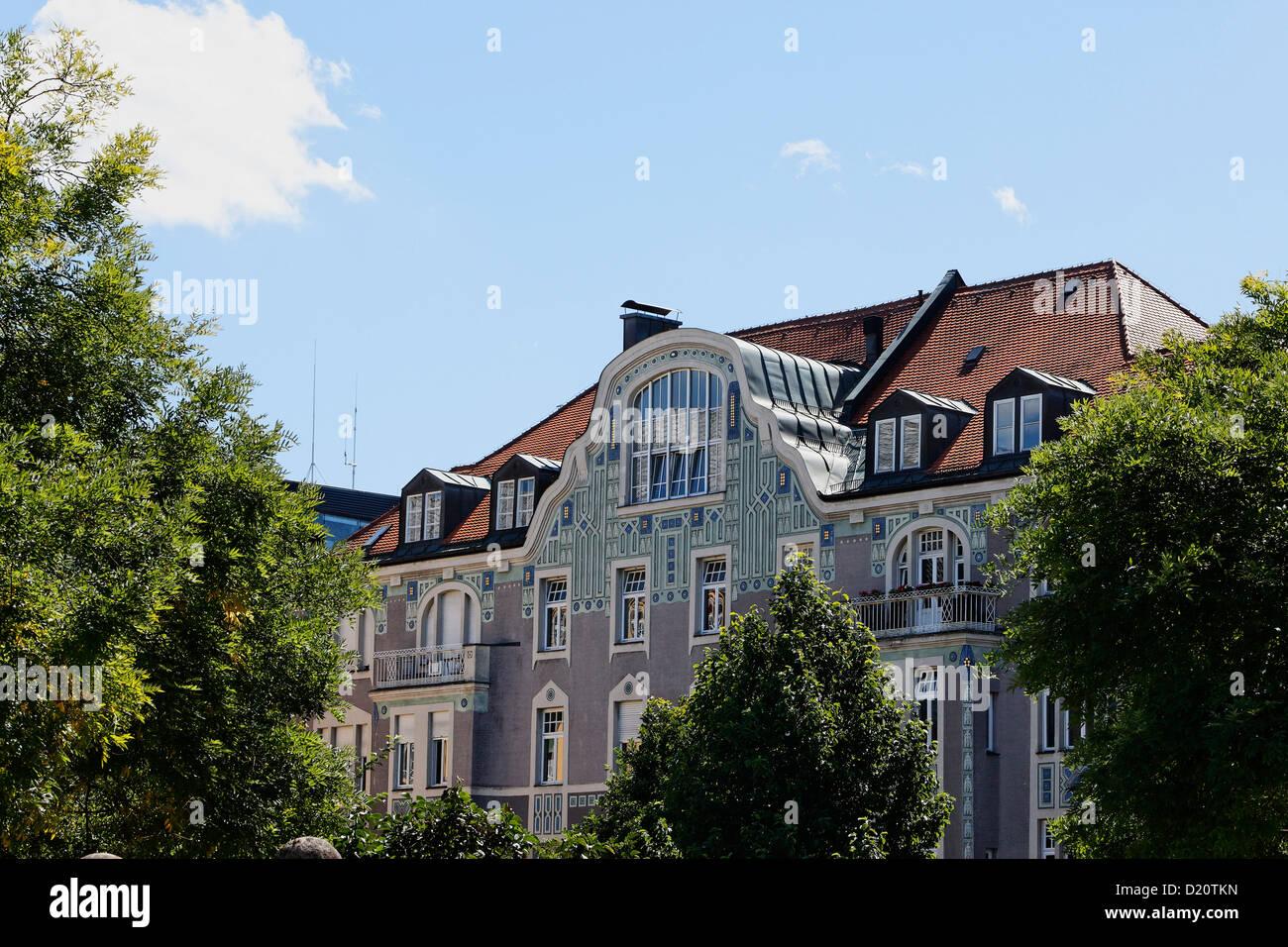 Art Deco casa residenziale progettato da Martin Duelfer in Gedeonstrasse, Schwabing Monaco di Baviera, Baviera, Immagini Stock
