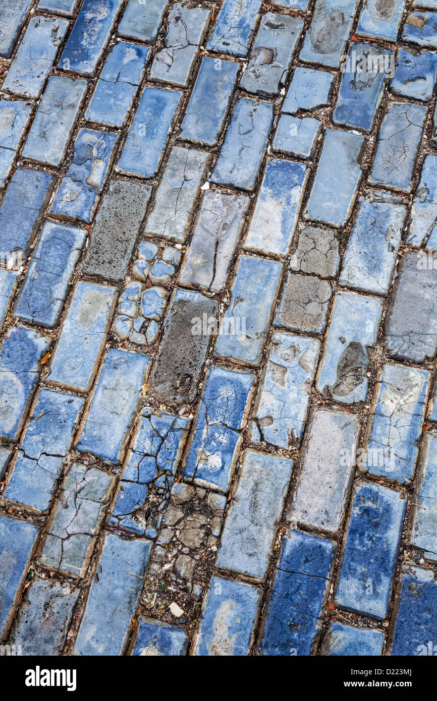 Blue strade acciottolate, Old San Juan, Puerto Rico Immagini Stock