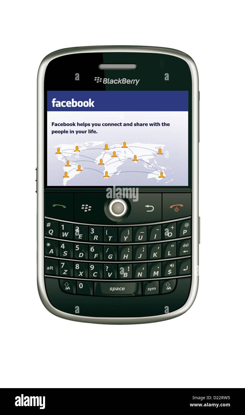 Facebook sul modello blackberry 9000 telefono mobile Immagini Stock