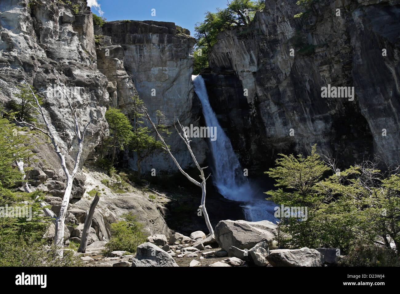 Chorrillo del Salto, parco nazionale Los Glaciares, Patagonia, Argentina Immagini Stock