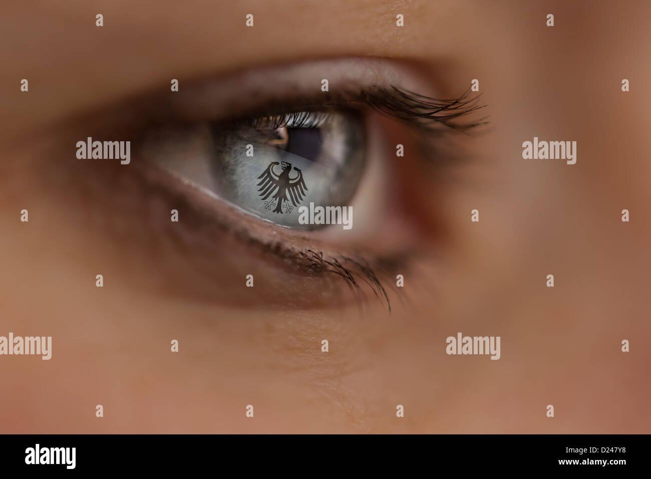 Donna che guarda al sito Internet con il tedesco aquila federale. Simbolo: intelligence service, servizio segreto, Immagini Stock