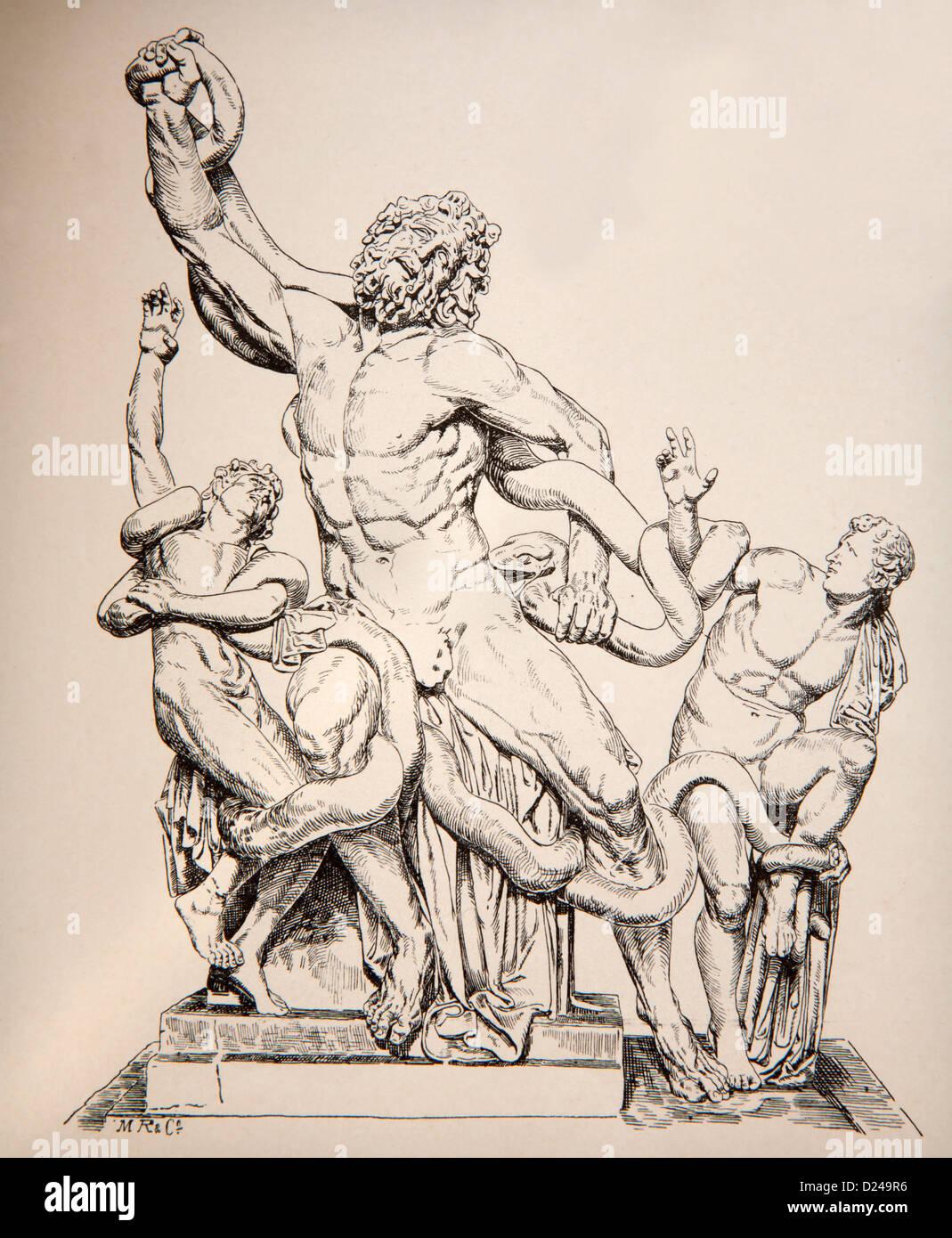 Germania - 1897: litografia di statua Gruppo del Laocoonte forma originariamente musei vaticani. Immagini Stock