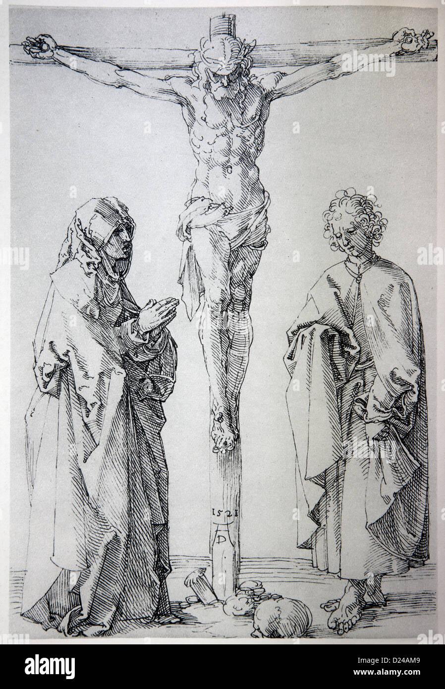 Germania - 1928: litografia di Gesù sulla croce da Alberto Durer Immagini Stock
