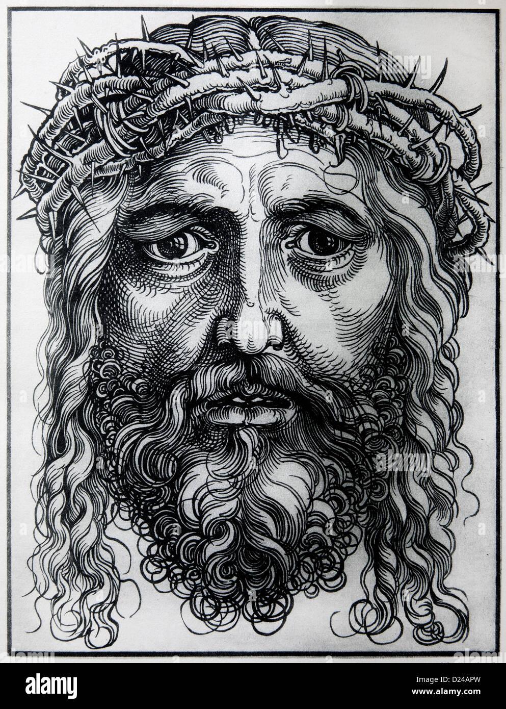 Germania - 1928: litografia di testa di Gesù Cristo da Alberto Durer. Immagini Stock