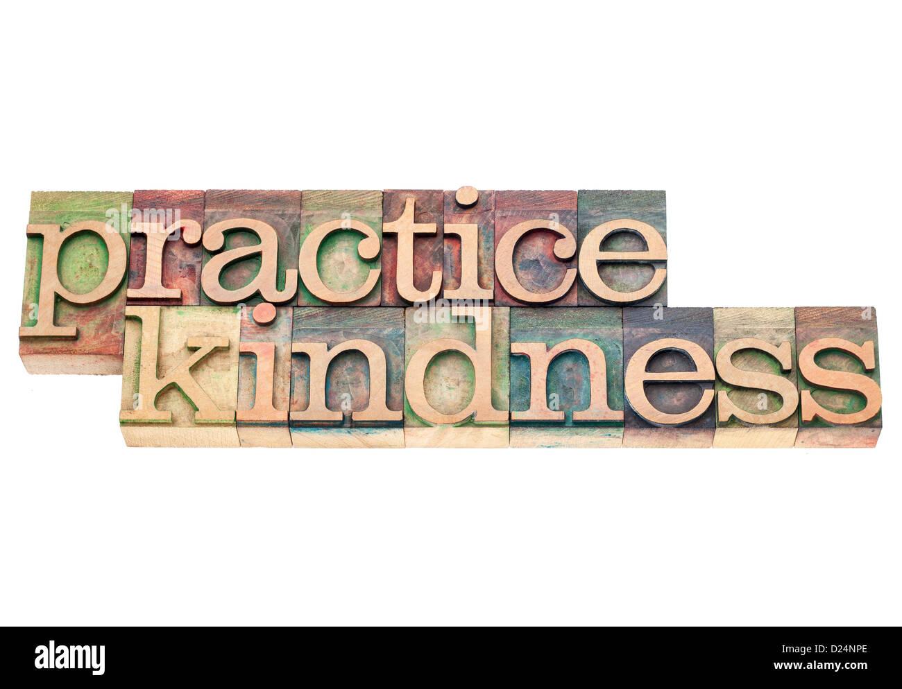 Pratica gentilezza - testo isolato in rilievografia vintage tipo legno blocchi di stampa Immagini Stock