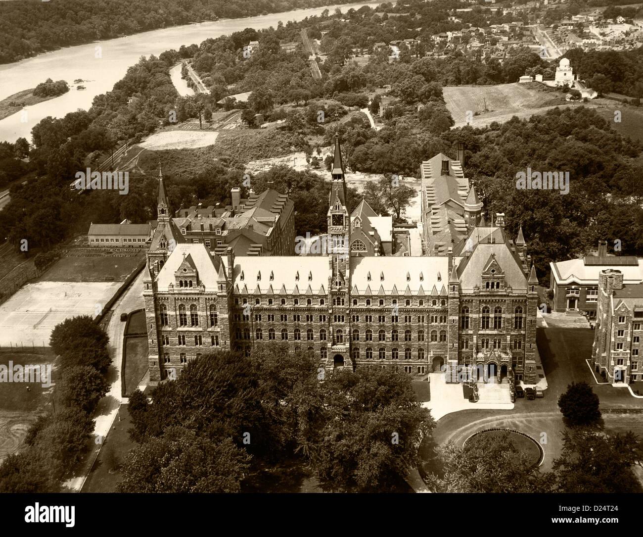 Storico fotografia aerea della Georgetown University di Washington DC, 1931 Immagini Stock