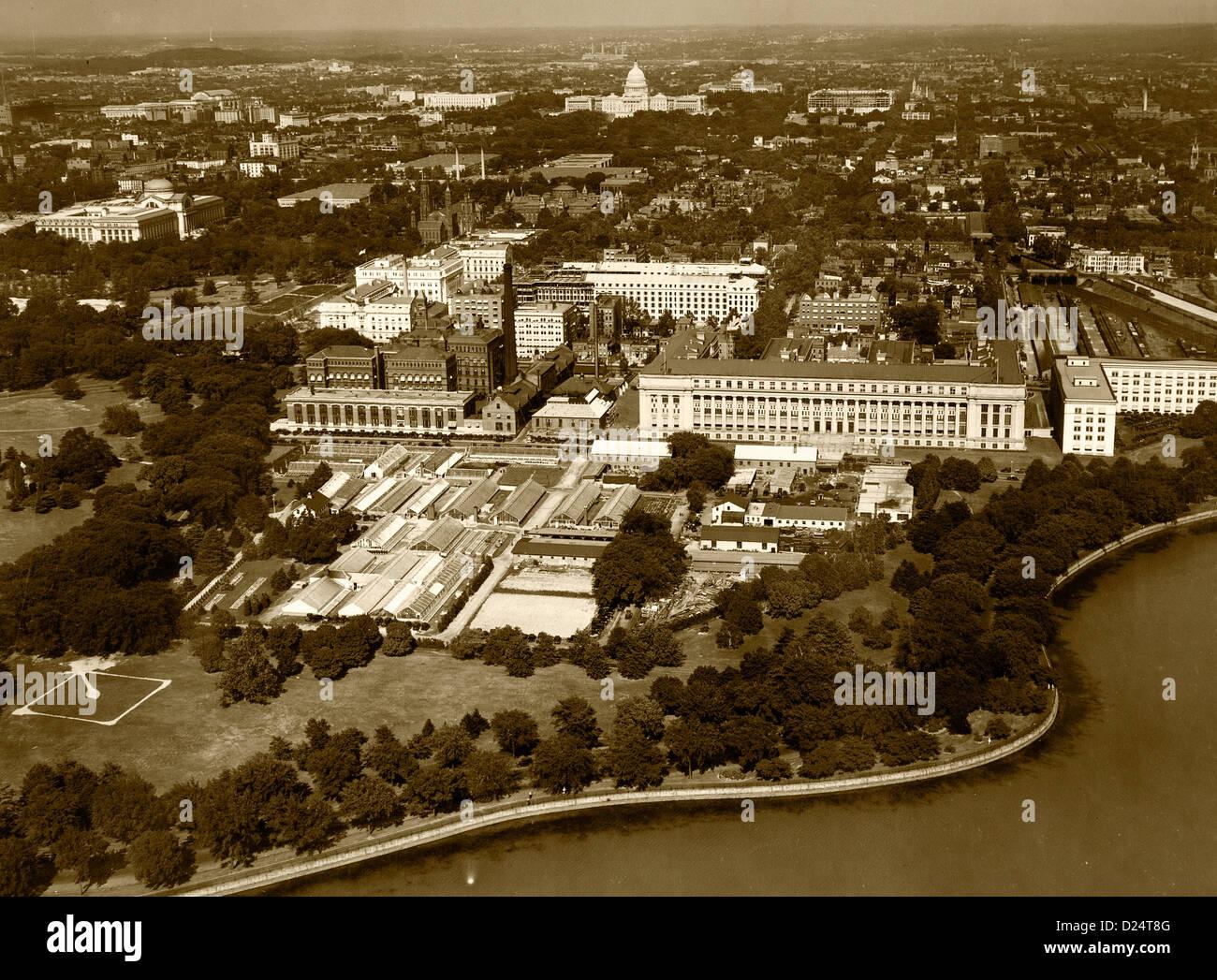 Storico di fotografia aerea a Washington DC, 1931 Immagini Stock