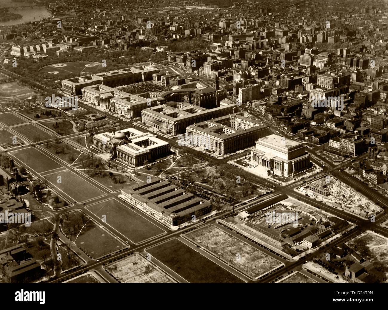 Storico fotografia aerea il Triangolo Federale, Washington DC, 1937 Immagini Stock