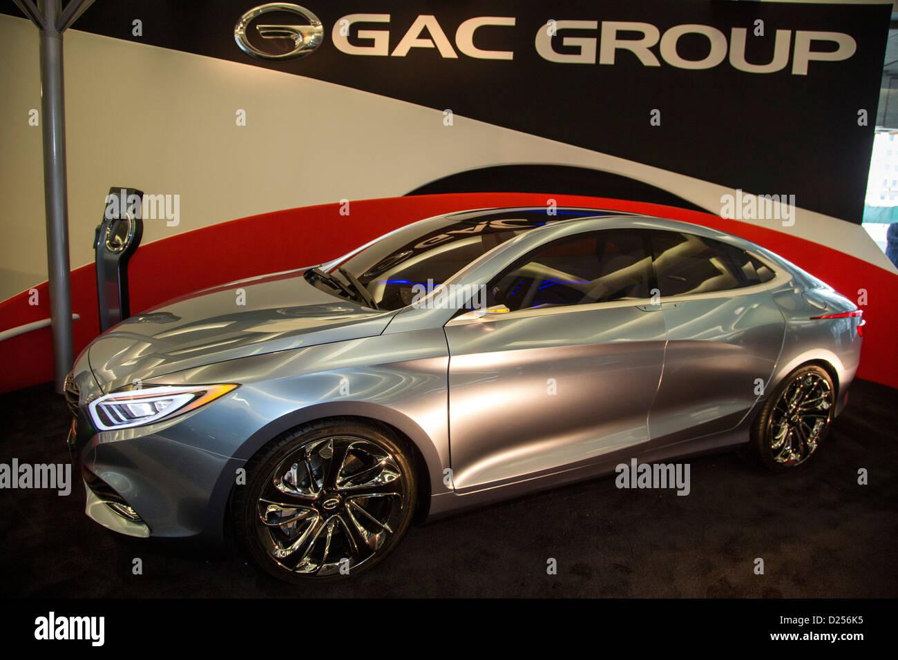 La Guangzhou Automobile del gruppo E-jet estesa gamma di auto elettriche sul display al North American International Immagini Stock