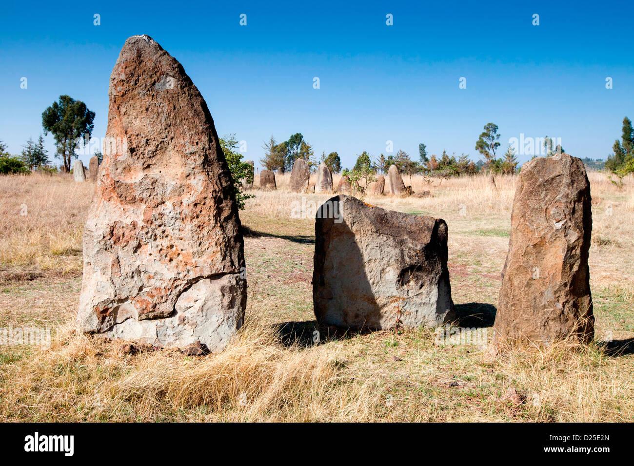 Il neolitico stele incisi con spade in piedi in un campo nei pressi del villaggio di Tiya in Etiopia, Africa. Foto Stock