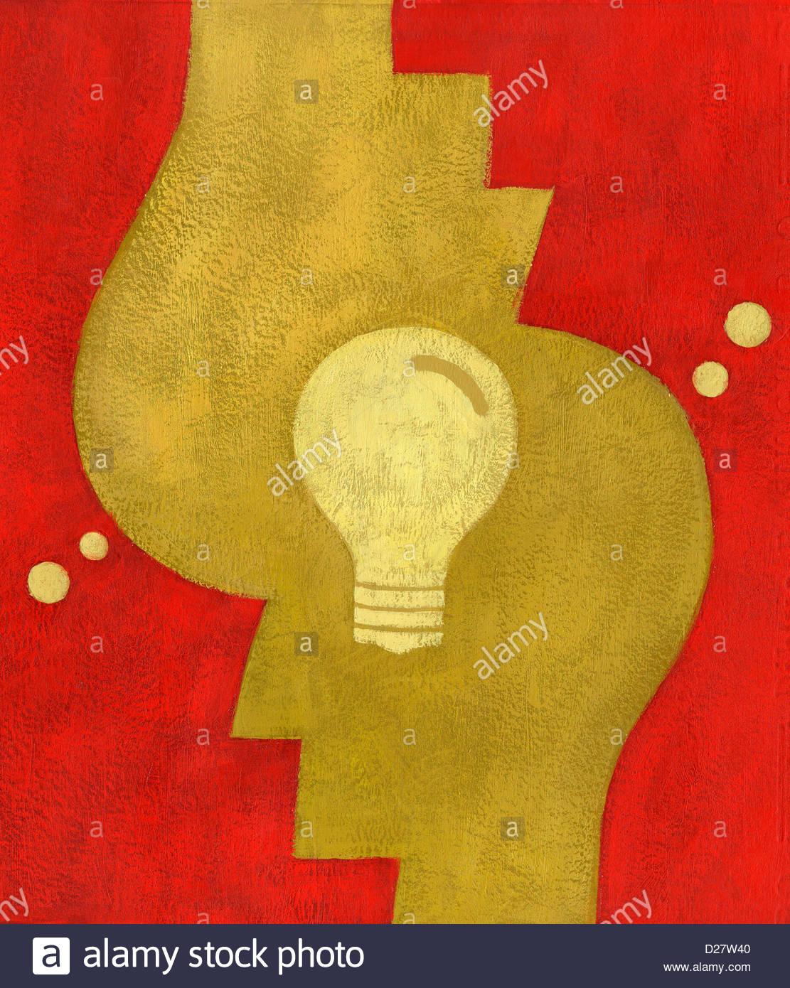 La lampadina della luce di teste di collegamento Immagini Stock