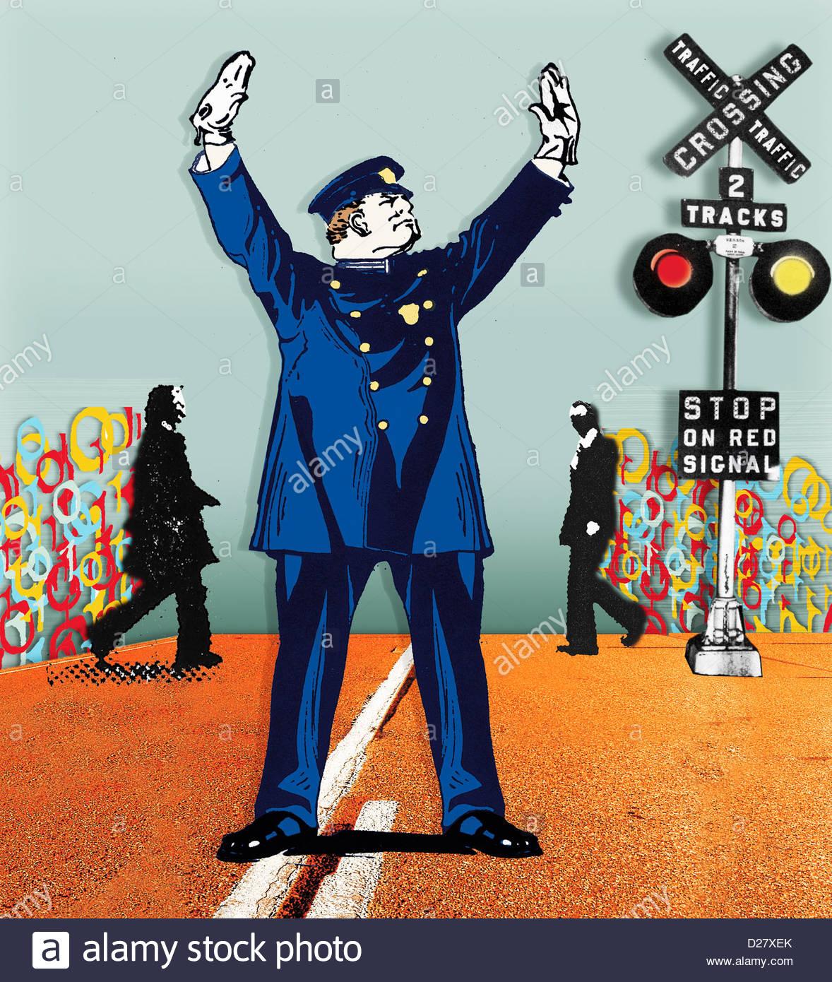 Poliziotto fermando il traffico in attraversamento ferroviario per uomini d'affari Immagini Stock