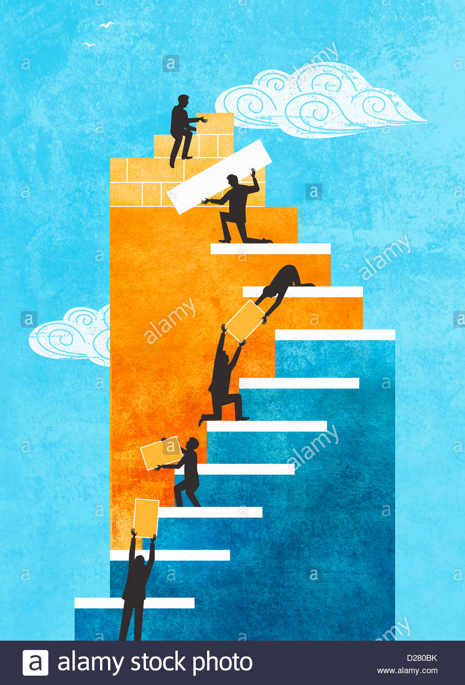 Le persone che hanno collaborato per la costruzione di scale Immagini Stock