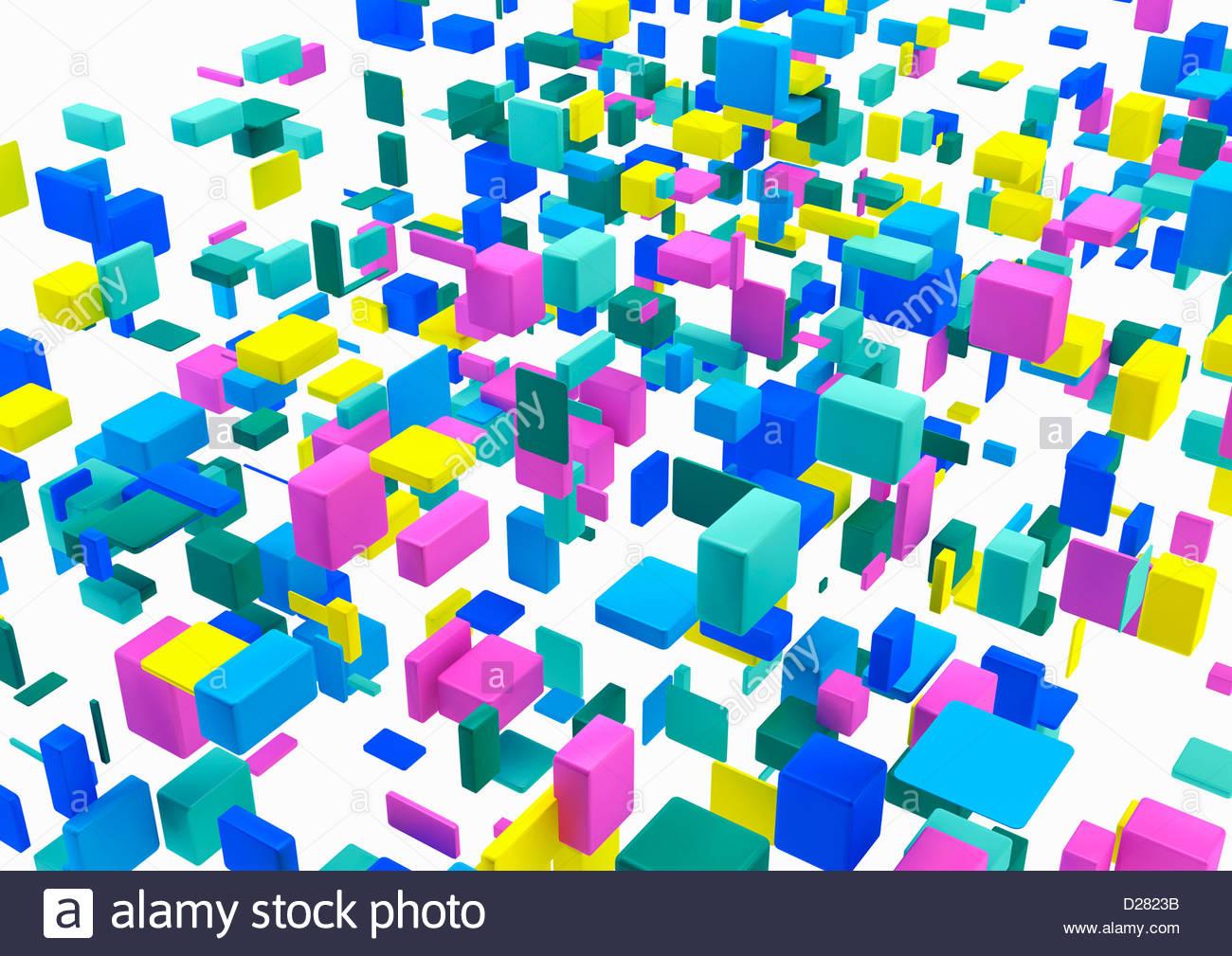 Disposizione astratta di cubetti multicolore su sfondo bianco Immagini Stock