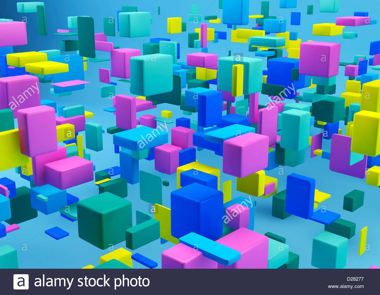 Disposizione astratta di cubetti multicolore su sfondo blu Immagini Stock