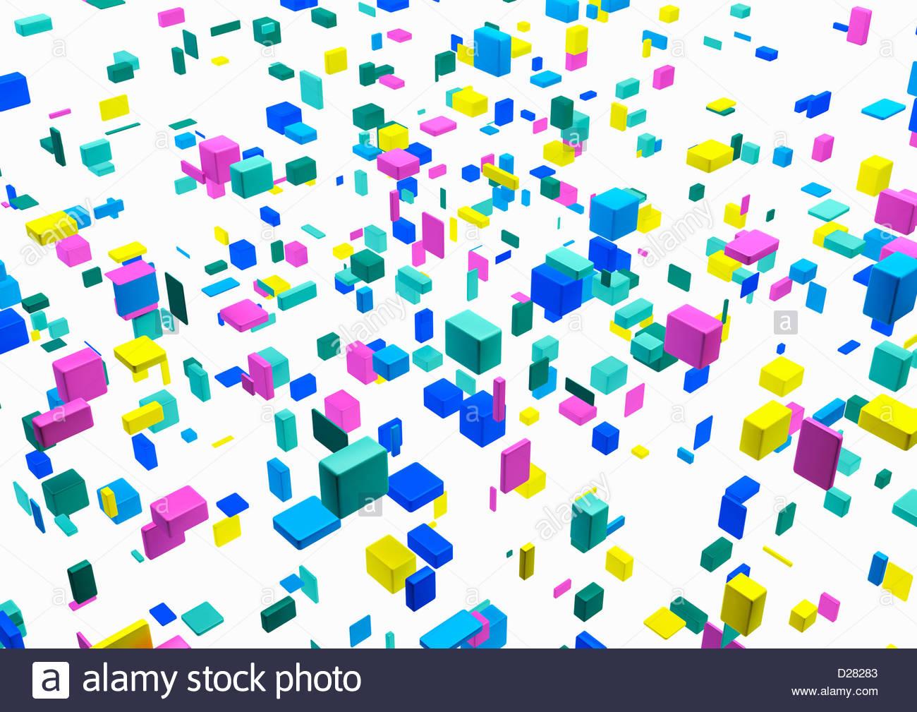 Abstract flottante cubetti multicolore su sfondo bianco Immagini Stock