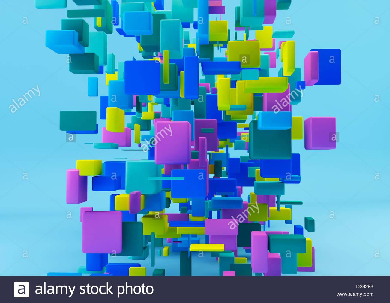 Cluster astratta di cubetti multicolore su sfondo blu Immagini Stock