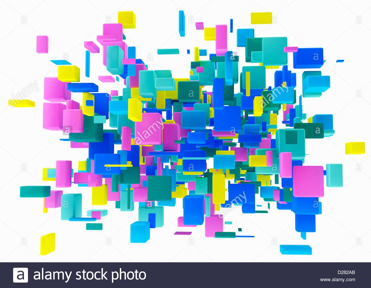 Cluster astratta di cubetti multicolore su sfondo bianco Immagini Stock