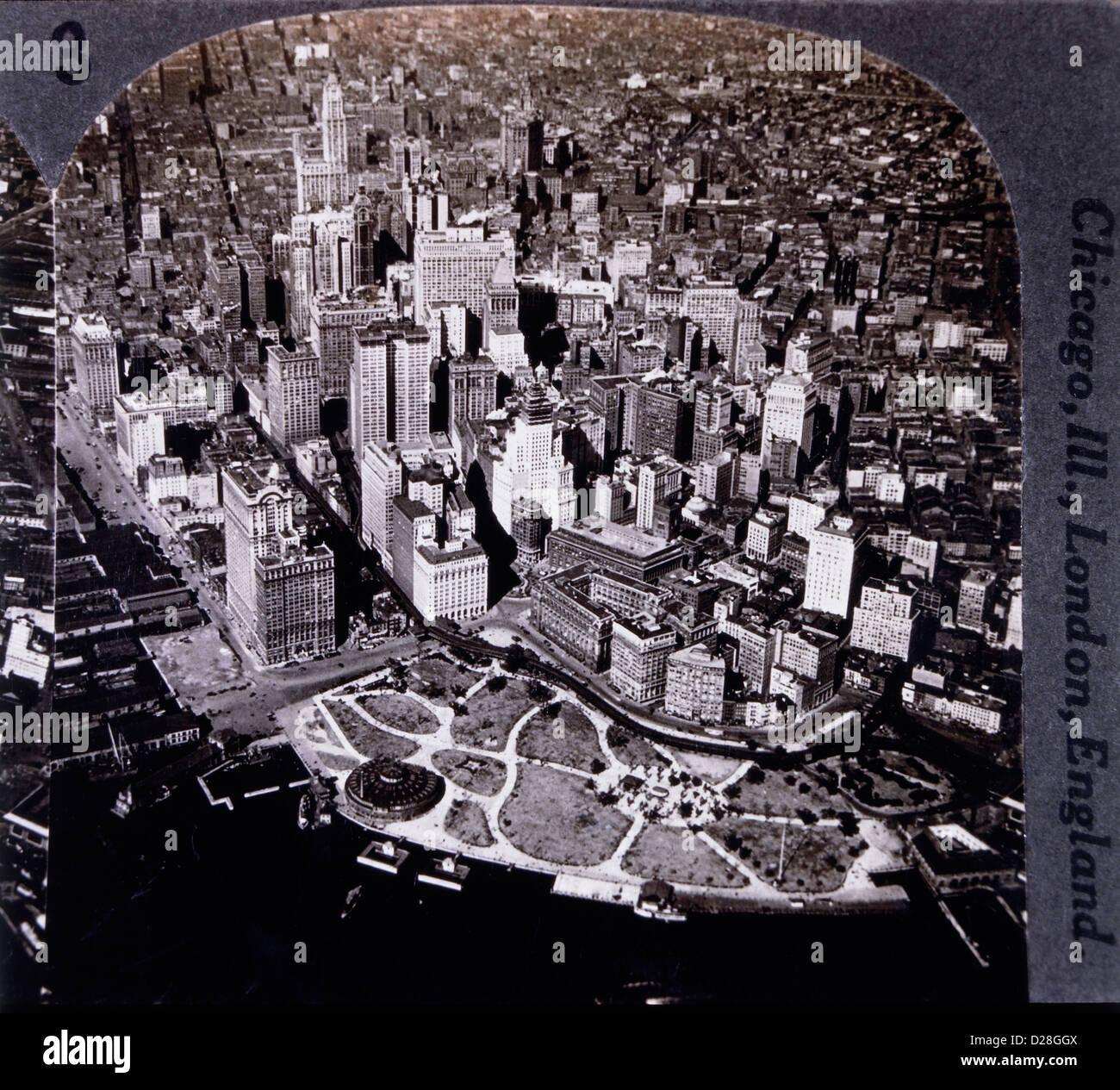 La parte inferiore di Manhattan, New York City, Stati Uniti d'America, ad alto angolo di visione, 1931 Immagini Stock