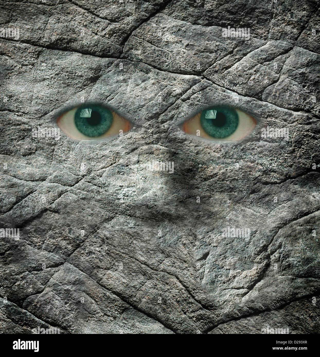 Il stoney guardare di una parete di roccia Immagini Stock