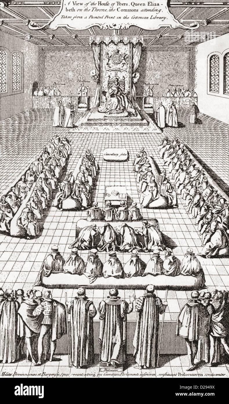 Il parlamento della regina Elisabetta I d'Inghilterra. Immagini Stock