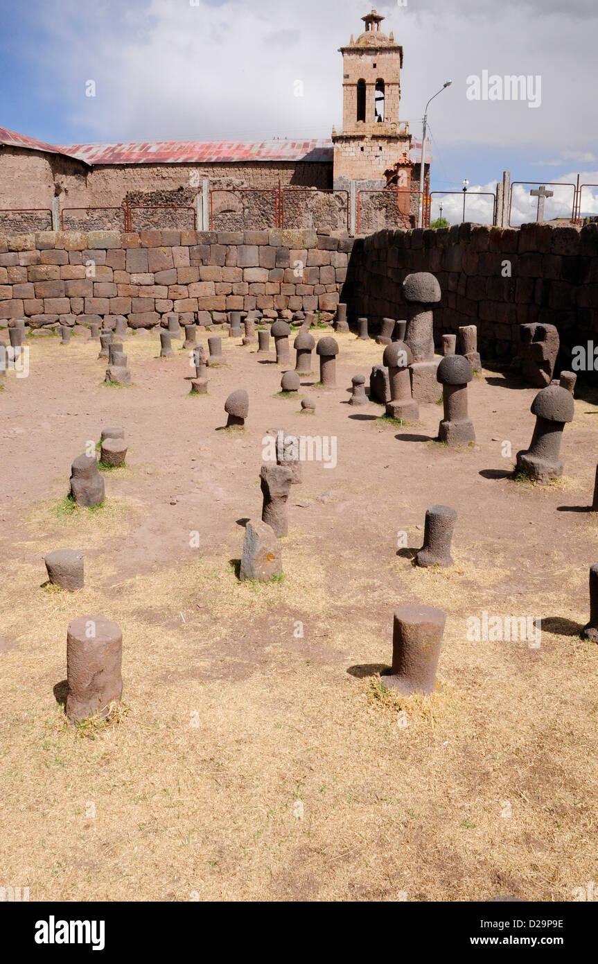 Campo di fallica simboli, il lago Titicaca, Perù Immagini Stock