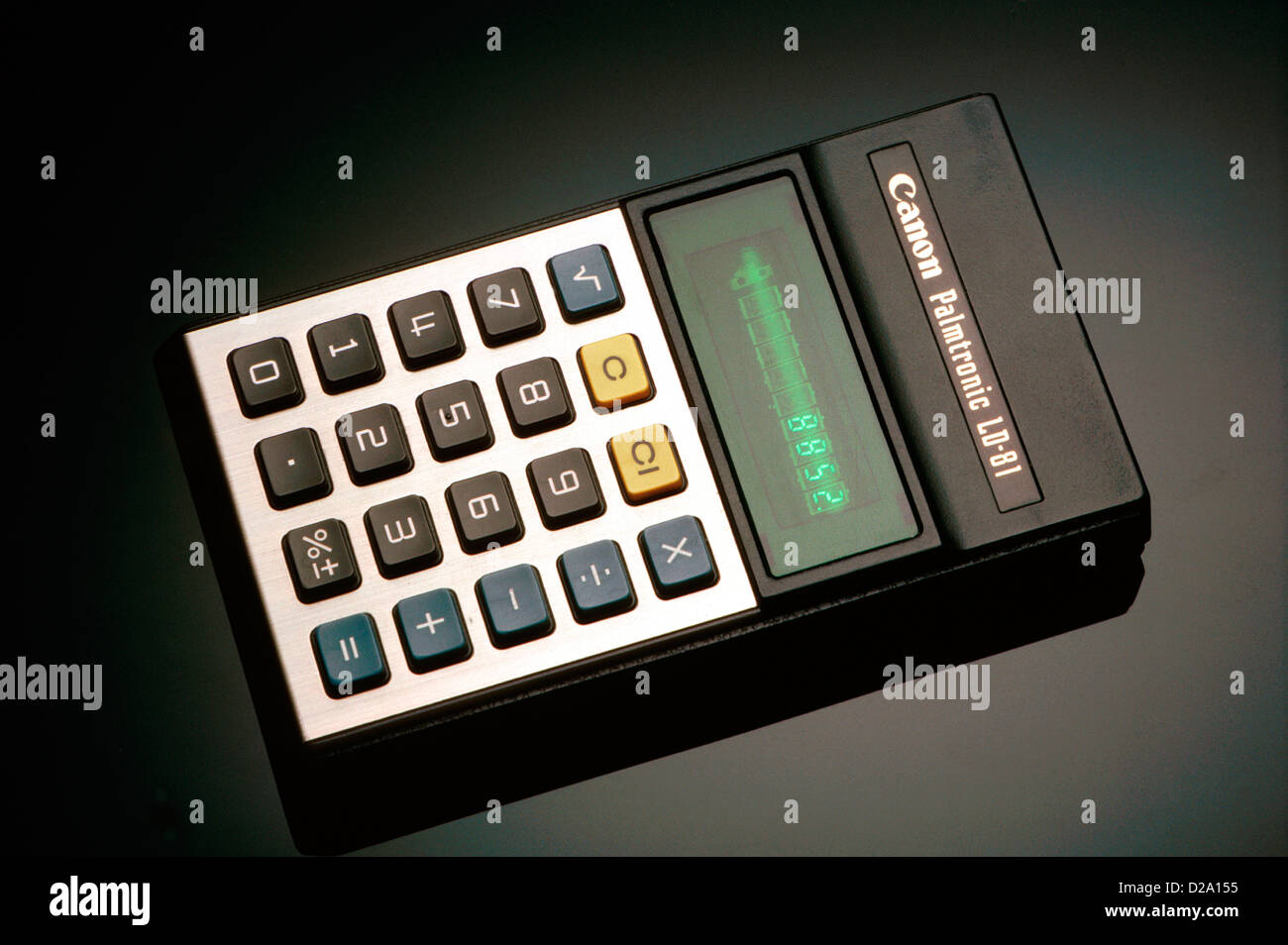 Calcolatrice elettronica circa. 1985 Immagini Stock