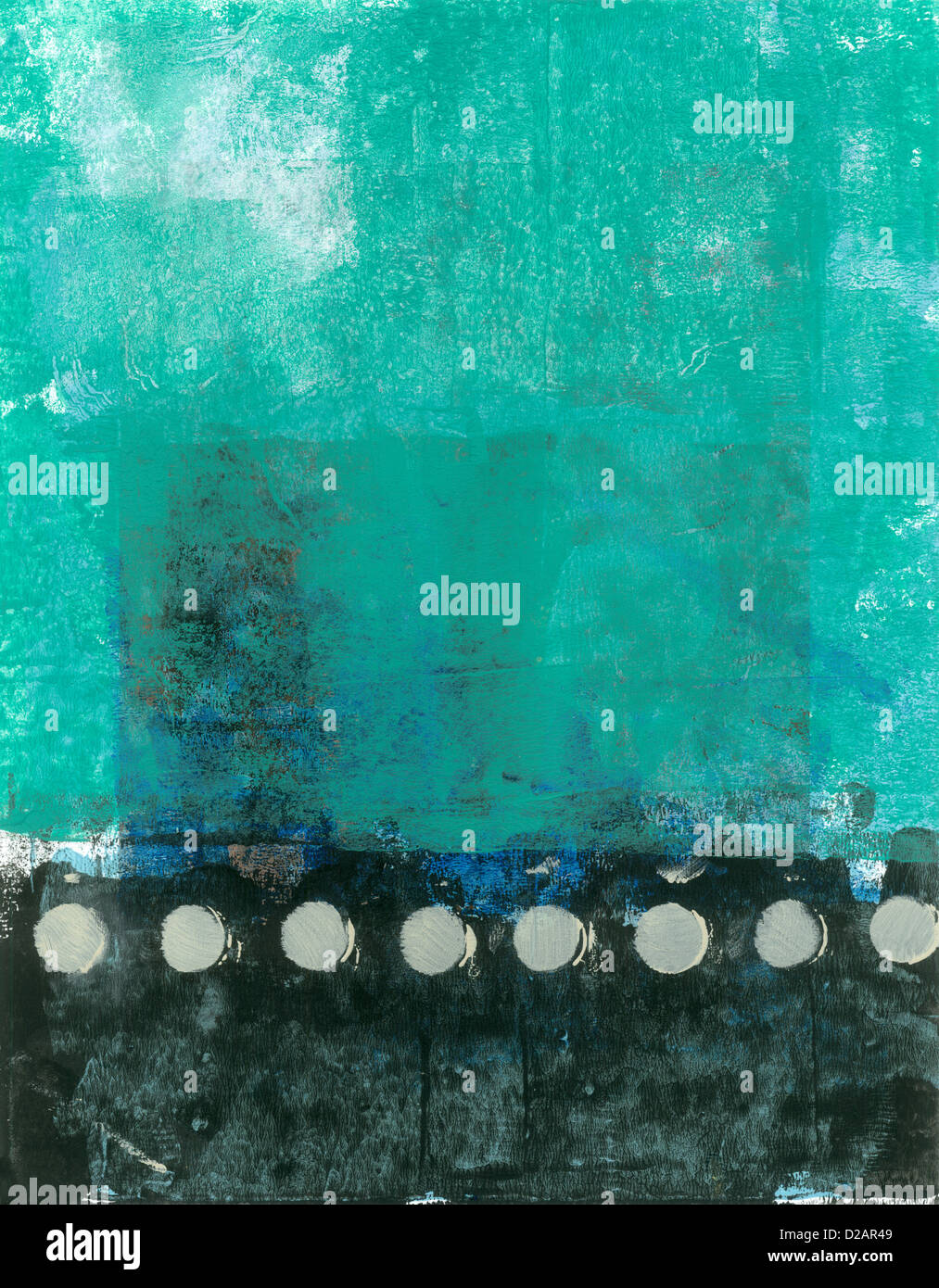 Abstract Teal e verniciatura nera con toni beige. Immagini Stock
