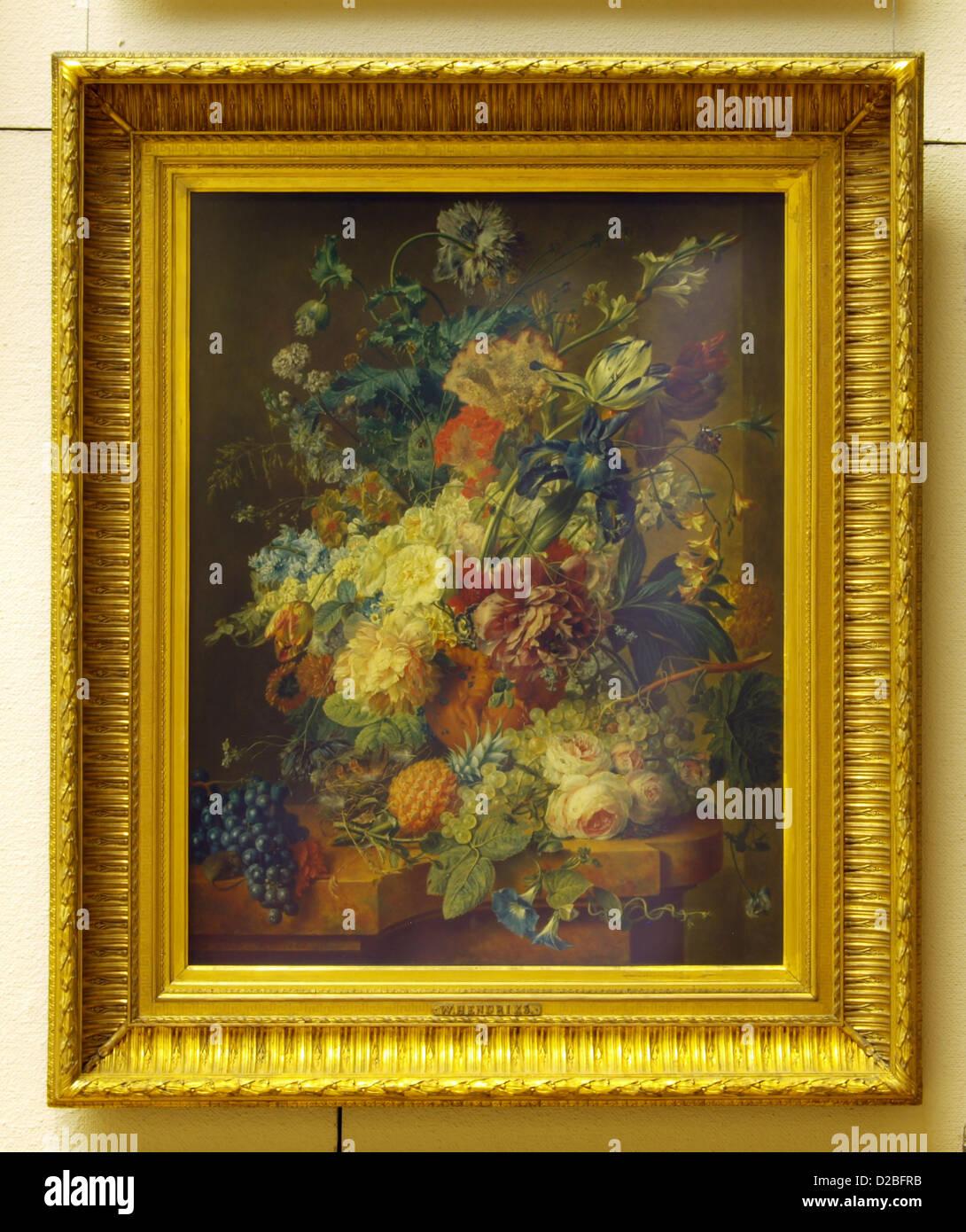 Wybrand Hendriks (1744-1831), Floral Still Life, olio su pannello Immagini Stock